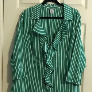 Jessica London Green & White Striped Ruffle Blouse